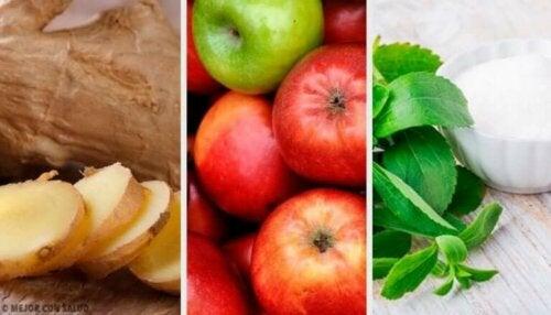 Ingefær-, stevia- og epledrikk som kompenserer for overspising