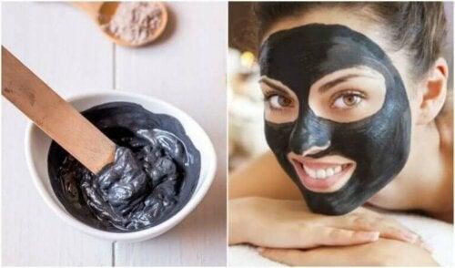 Sort ansiktsmaske for å bli kvitt hudormer og urenheter