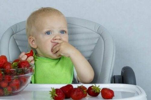 Baby som spiser jordbær.