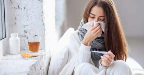 En kvinne som er syk