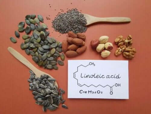 Frø og nøtter inneholder linolsyre