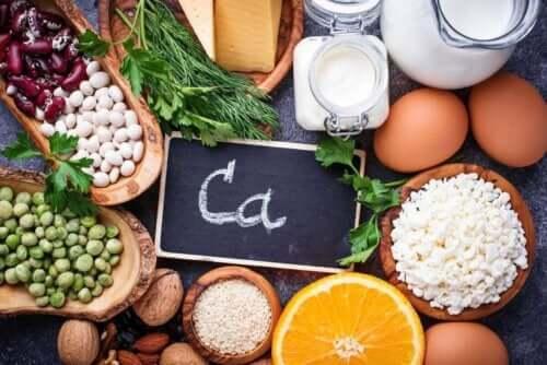 Matvarer med kalsium.