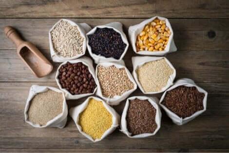 Ulike typer glutenfrie korn.