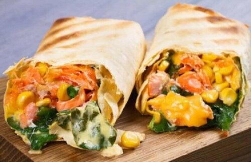 Burritos med maiskorn