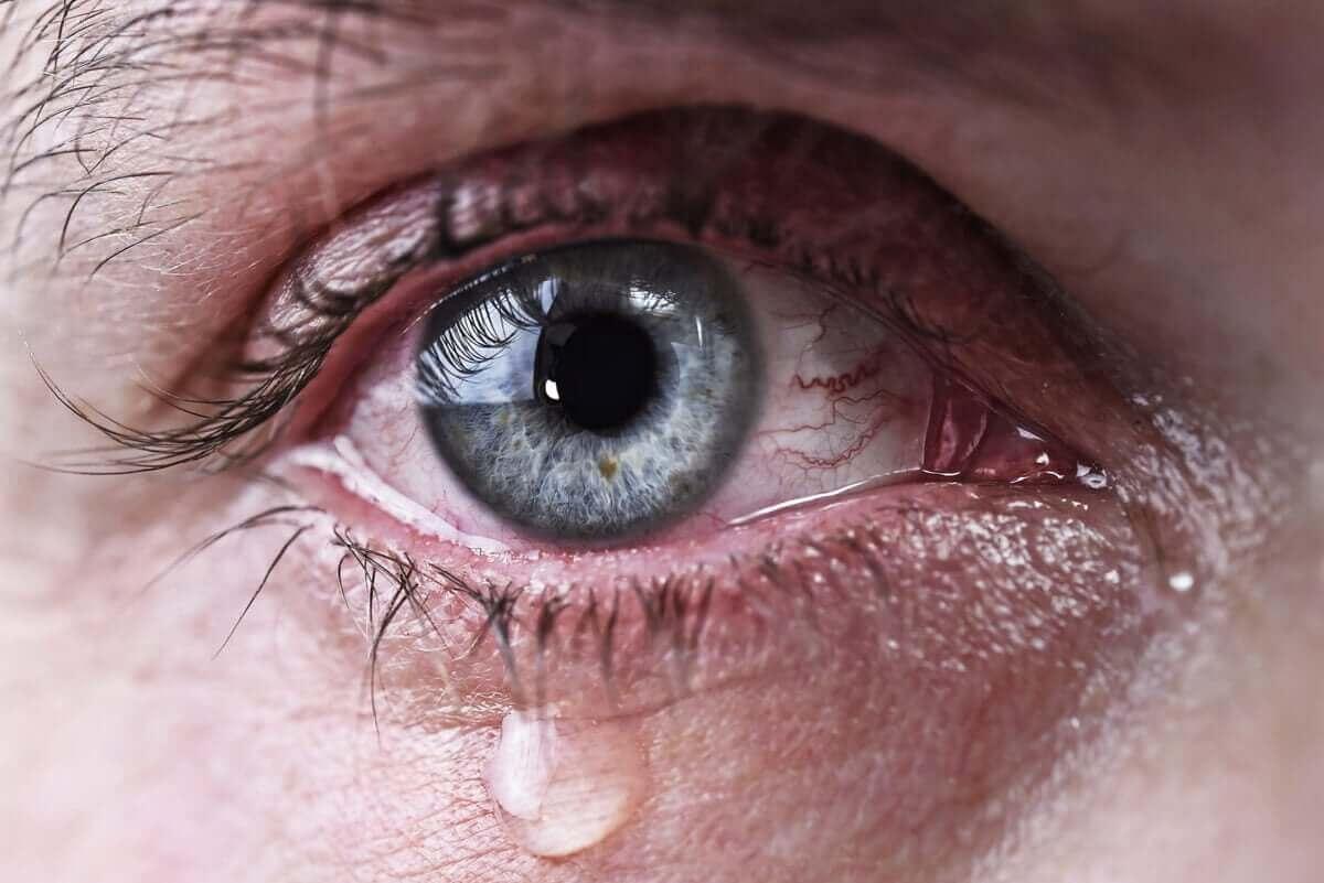 Et øye med en tåre som renner ned