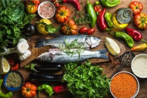 Matvarer som utgjør en del av et sunt kosthold.