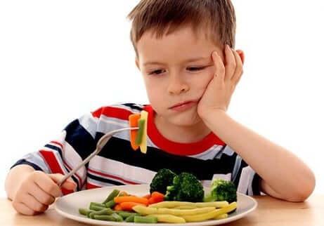 Barn som nekter å spise grønnsaker