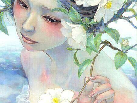 En kvinne med blomster
