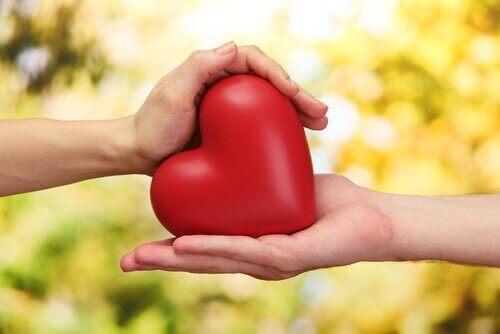 To hender som holder et hjerte