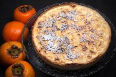 Oppskrift på karamellpudding med persimon og sjokolade