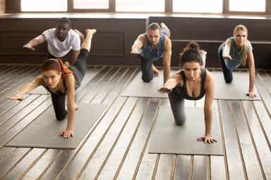 En gruppe voksne som utfører fuglehund-øvelsen i løpet av en treningstime