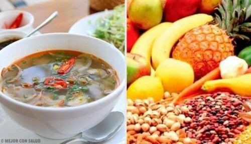 Forskjellige matvarer med mettende effekter