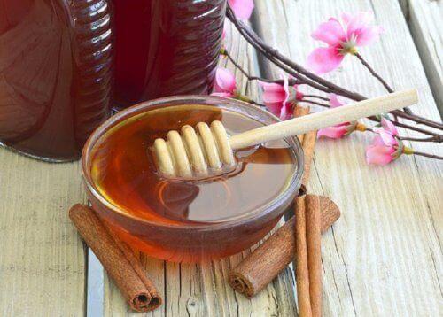 En bolle med honning med kanelstenger