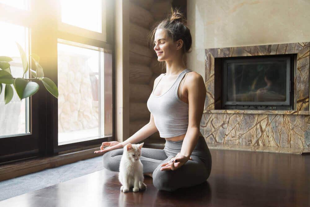 Kvinne i yogameditasjon med en katt