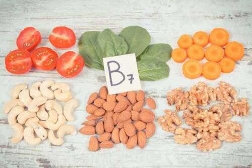 Kilder til vitamin B7.